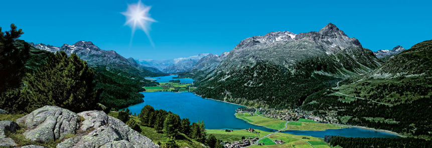 Beautiful Engadin lakes on our hiking tour trough the Swiss Alps