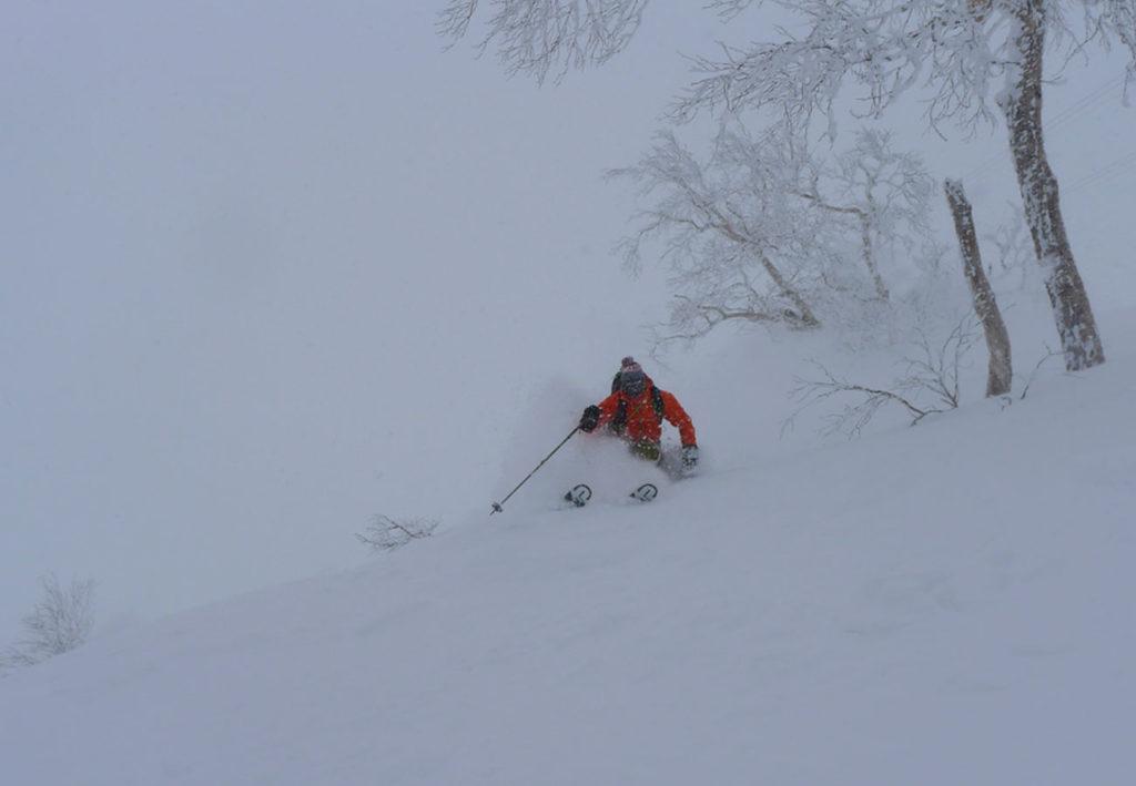 Skiing deep powder in Japan