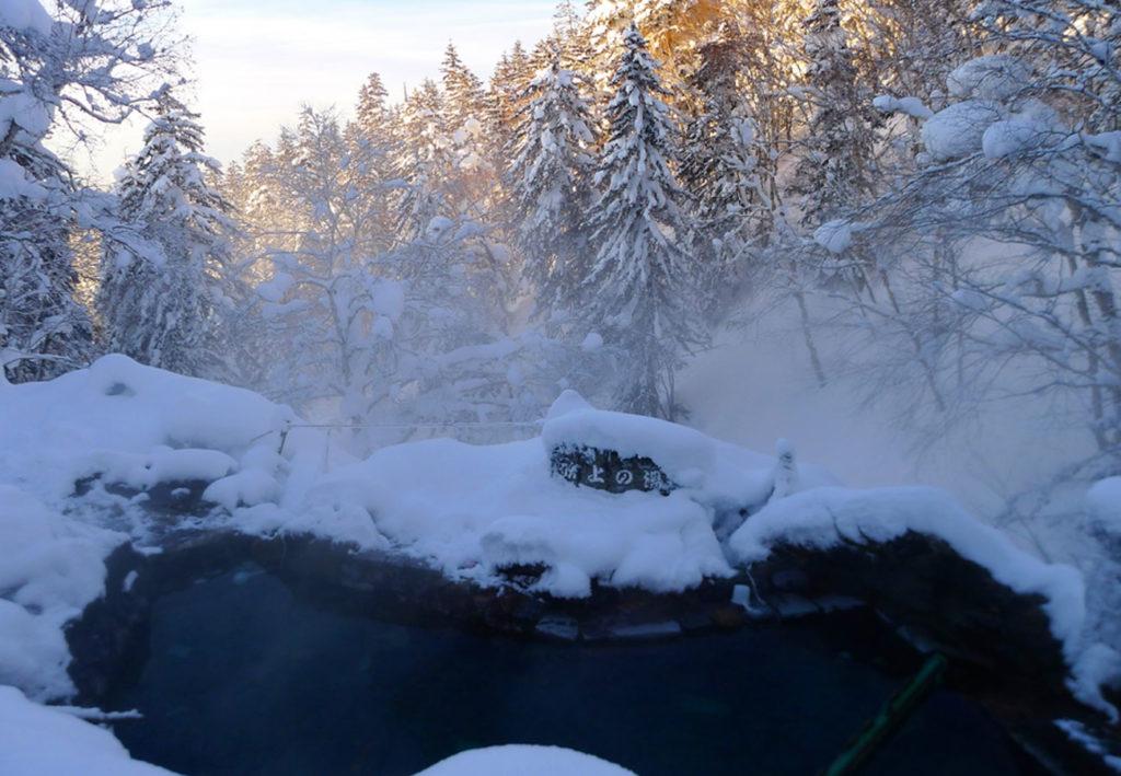 A wild hot spring in the Tokachidake mountains in Japan