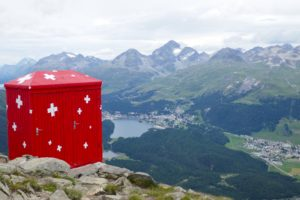 the view from segantini hut in the Engadin valley high above st.moritz