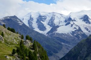a view of the palü mountain in the famous in Pontresina