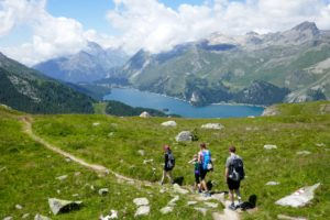 hiking in st.moritz high above the lakes
