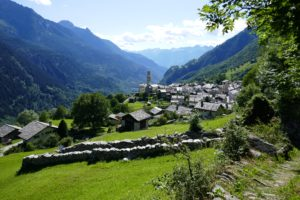 hiking down to soglio in the Swiss alps on a panoramic trail