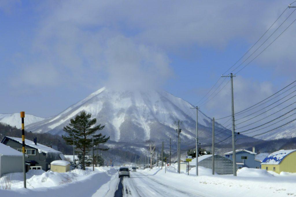 Skiing a volcano in Hokkaido the north island of Japan