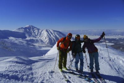 On top of Tokachi mountain in Hokkaido Japan with skitouring skis
