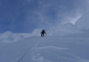 climbing up a steep face at cerro san lorenzo