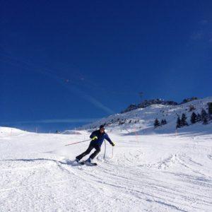 a slalom skier at the ski race camp Switzerland