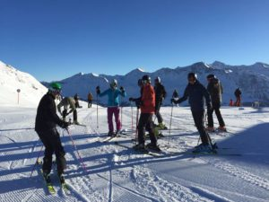 a group of skiers at the ski race camp Switzerland