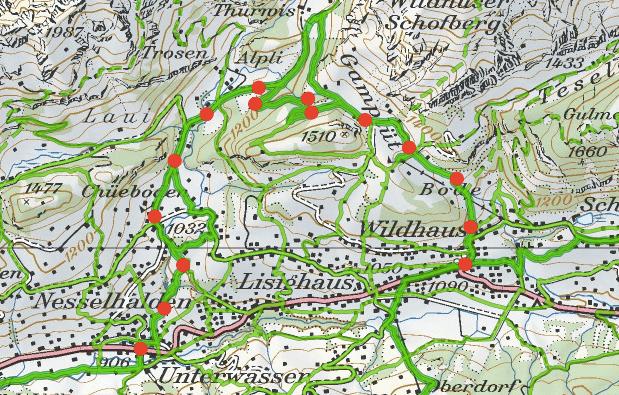 Die Karte für die Wanderung zu den Thurwasserfällen und nach Gamplüt