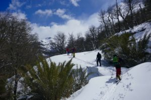 skitouring up to refugio meiling at cerro tronador