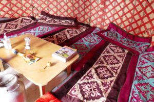 the beds in the yurt for skitouring in Kirgistan