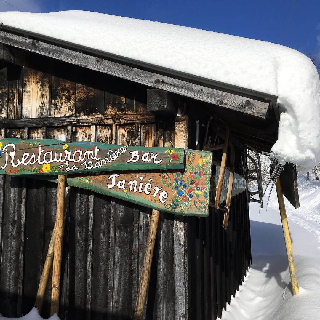 lunch stop on our great alps ski safari in the alps