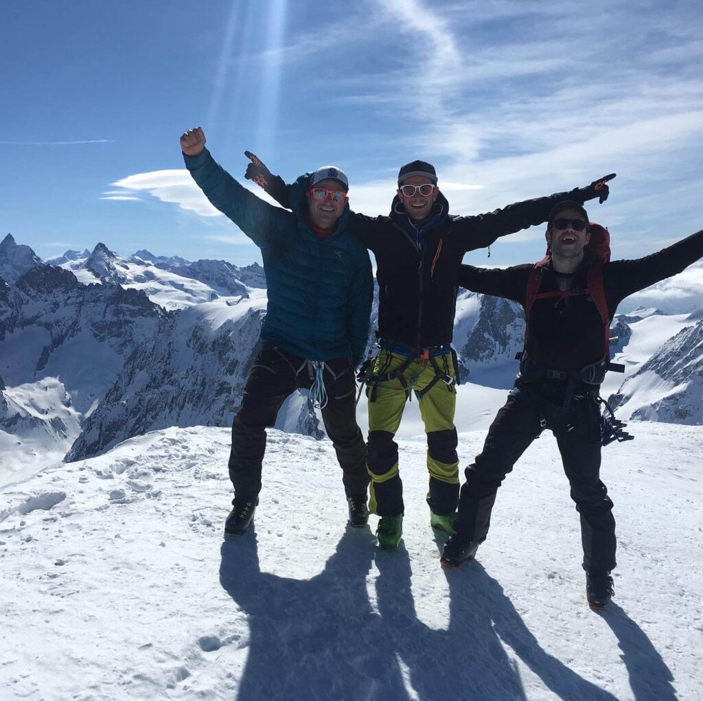 Happy skiers on the Chamonix to Zermatt Haute Route