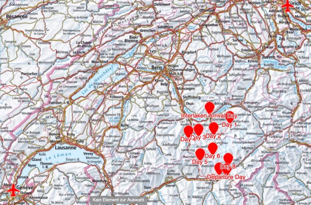Karte der Transalp-Trekkingreise Schweiz