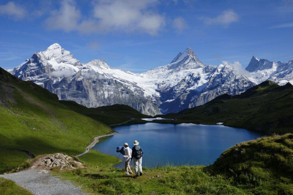 Blick auf Eiger, Mönch und Jungfrau in den Schweizer Alpen