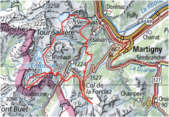 Map Hiking Tour of the Trient valley